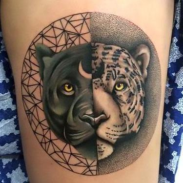 Amazing Black Leopard Yin Yang Tattoo