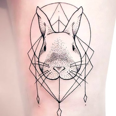 Fineline Rabbit Tattoo