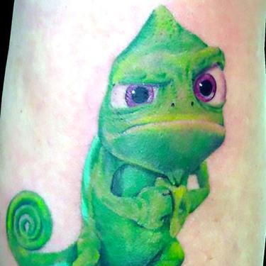 Funny New School Gecko Tattoo