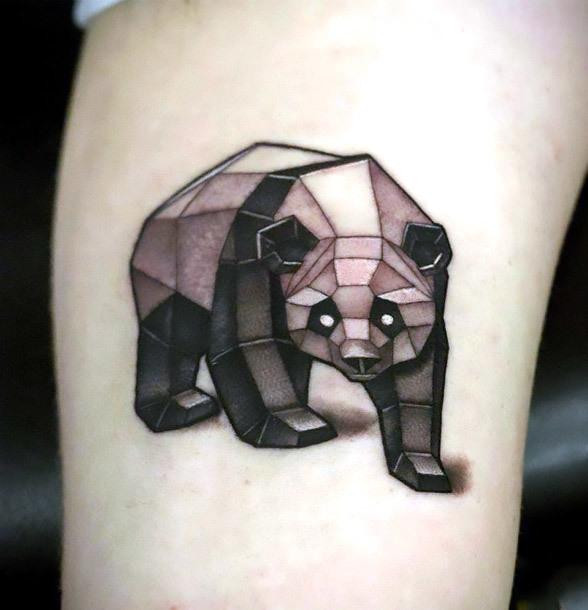 Geometric Panda Tattoo Idea