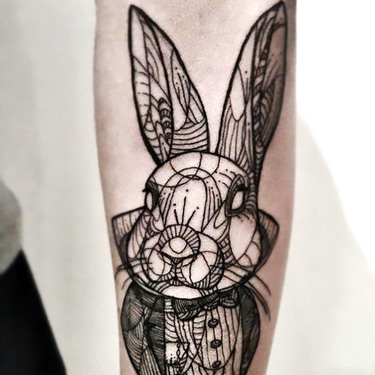 Fine Line Rabbit on Forearm Tattoo