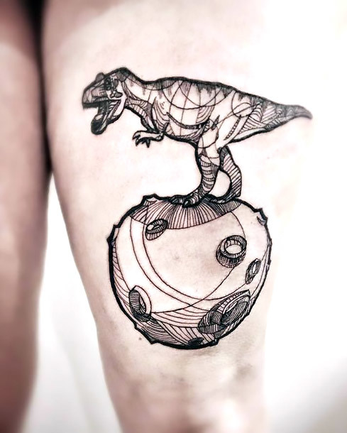 Great Dinosaur on Thigh Tattoo Idea