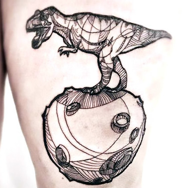 Great Dinosaur on Thigh Tattoo
