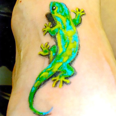 Green Gecko Tattoo