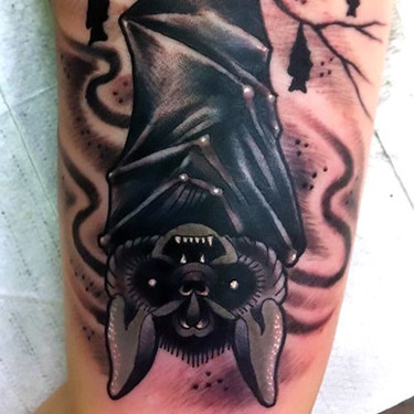 Hanging Bat Tattoo