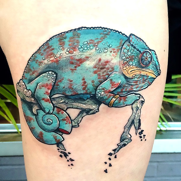 Lazy Chameleon Tattoo Idea