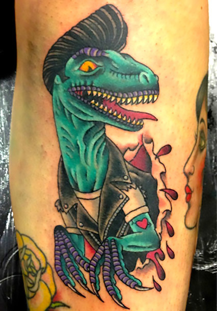 Neo Traditional Dinosaur Tattoo Idea