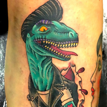 Neo Traditional Dinosaur Tattoo