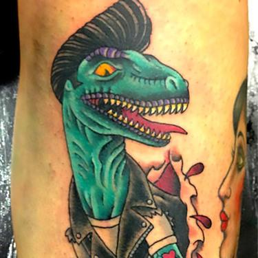 Neo Traditional Dinosaur Tattoo