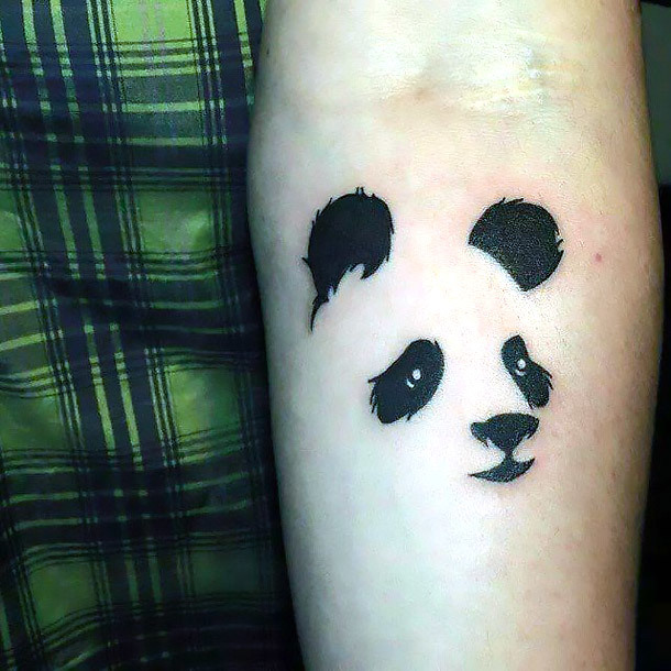 Panda Face Outline Tattoo Idea