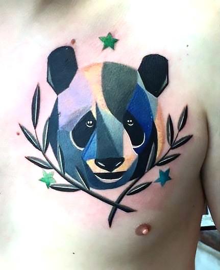 Panda Head Tattoo on Chest Tattoo Idea