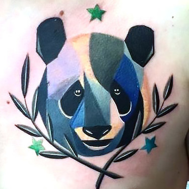 Panda Head Tattoo on Chest Tattoo