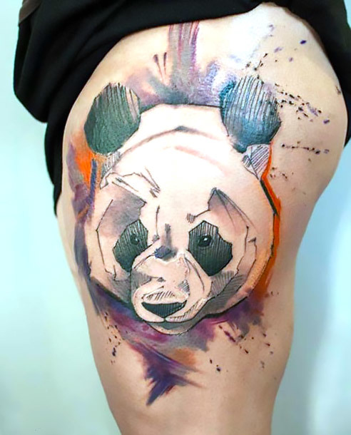 Panda on Thigh Tattoo Idea