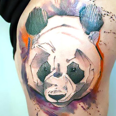 Panda on Thigh Tattoo