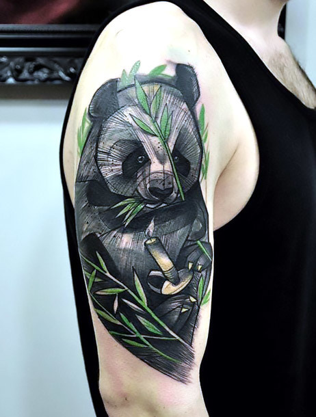 Panda Samurai Tattoo on Shoulder Tattoo Idea