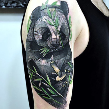Panda Samurai Tattoo on Shoulder Tattoo