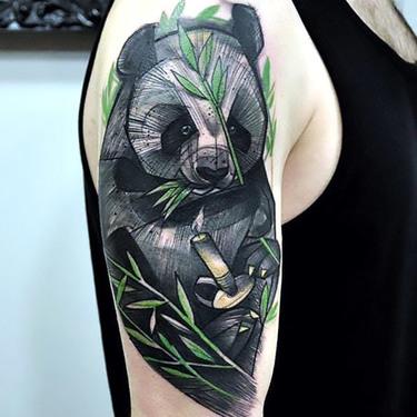 Panda Samurai Tattoo on Shoulder Tattoo