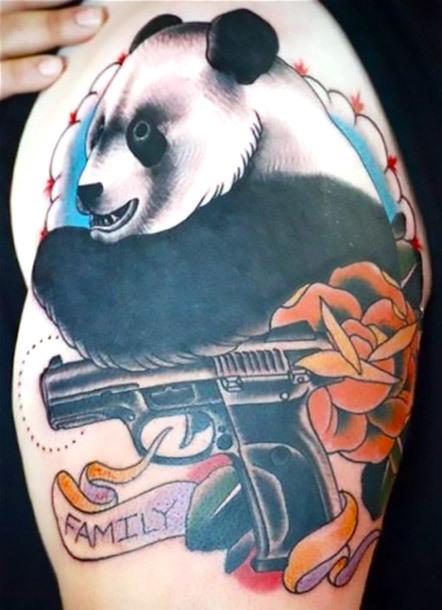 Panda With Gun Tattoo Idea