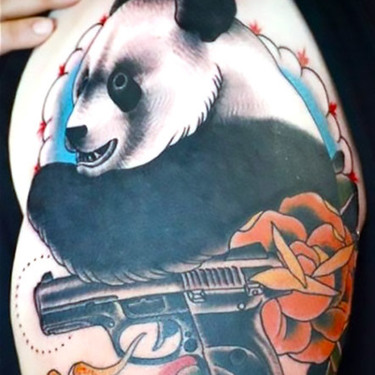 Panda With Gun Tattoo