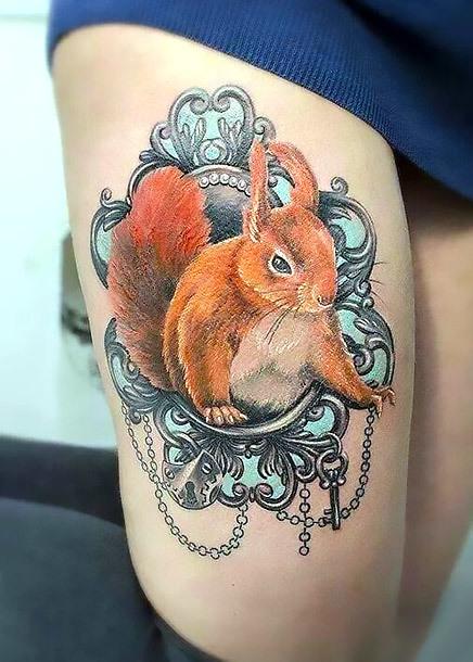 Sexy Squirrel on Thigh Tattoo Idea
