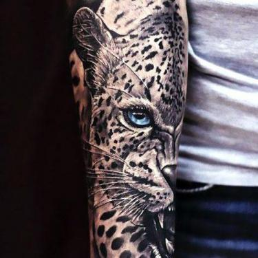Amazing Cheetah Sleeve Tattoo