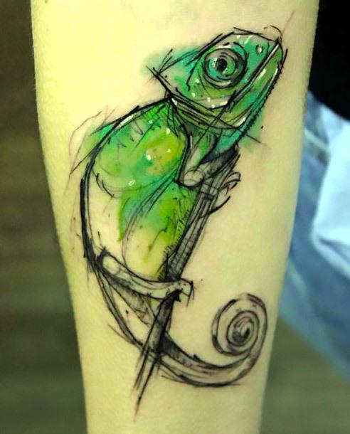 Sketchy Chameleon Tattoo Idea