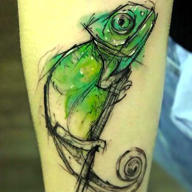 Sketchy Chameleon Tattoo