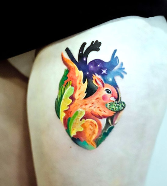 Squirrel Heart Tattoo Idea