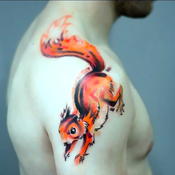 Squirrel Tattoo on Shoulder Tattoo Idea