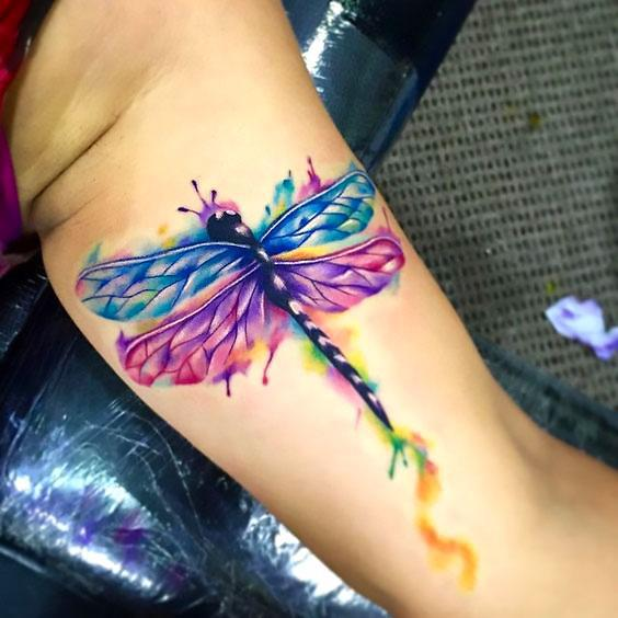 Amazing Colorful Dragonfly Tattoo Idea