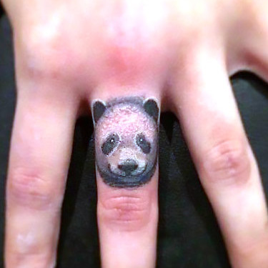 Tiny Panda Tattoo on Finger Tattoo