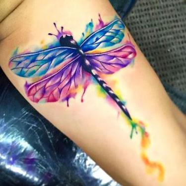 Amazing Colorful Dragonfly Tattoo