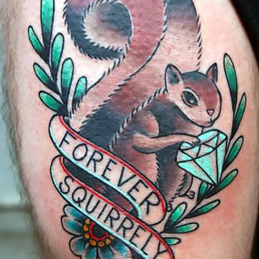 Traditional Forever Squirrely Tattoo