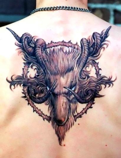 Unique Goat Tattoo Idea
