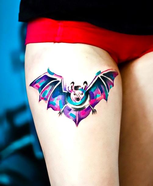 Watercolor Bat Tattoo for Girls Tattoo Idea