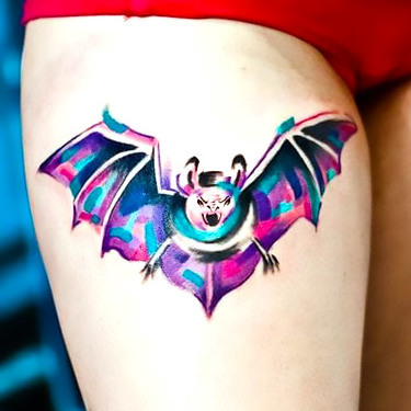 Watercolor Bat Tattoo for Girls Tattoo