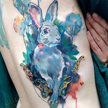 Watercolor Rabbit Tattoo