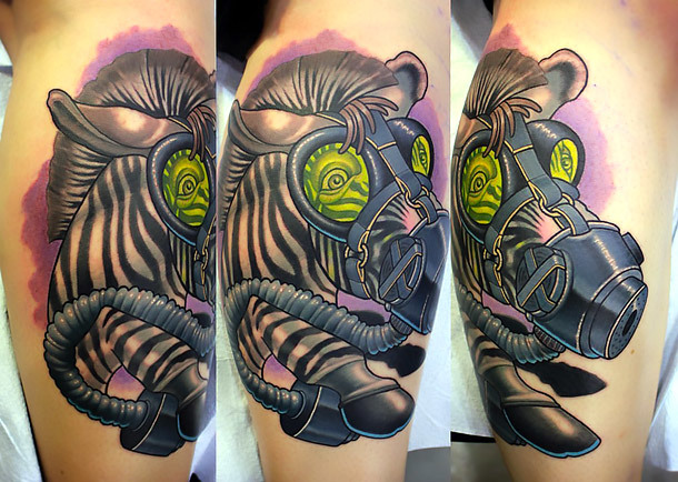 Zebra In Gas Mask Tattoo Idea