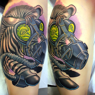 Zebra In Gas Mask Tattoo