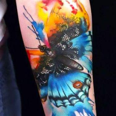 Amazing Colorful Watercolor Butterfly Tattoo