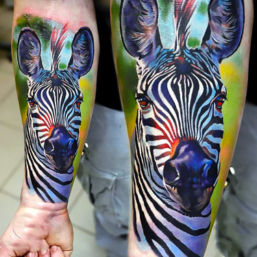 Zebra Tattoo on Forearm Tattoo