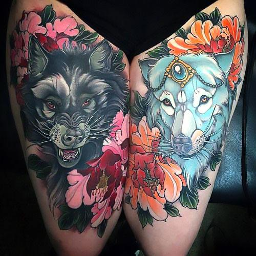 Amazing Colorful Wolf And Flowers Tattoo Idea