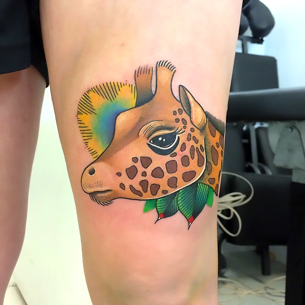Beautiful Giraffe Head Tattoo Idea