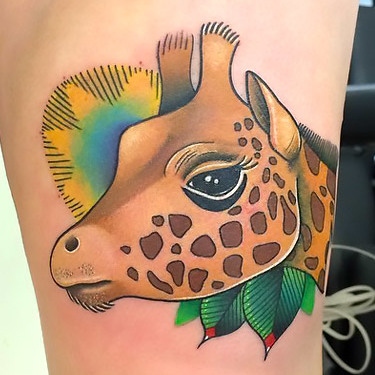 Beautiful Giraffe Head Tattoo