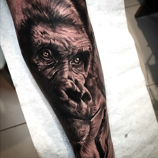 Best Black and Gray Gorilla Tattoo Idea