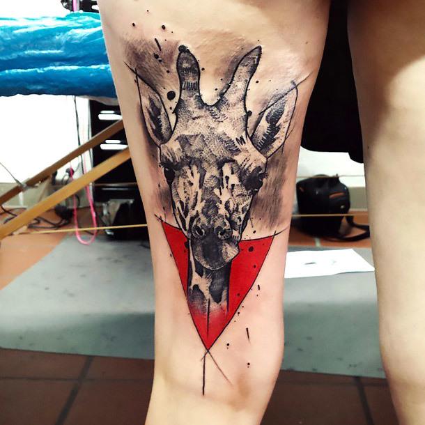 Black and Gray Giraffe Tattoo Idea