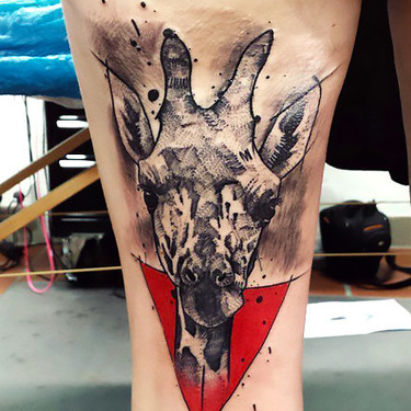 Black and Gray Giraffe Tattoo