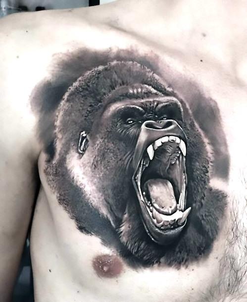 Black and Gray Gorilla Tattoo Idea