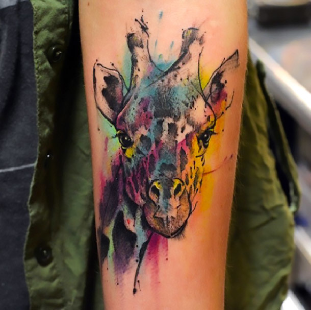 Colorful Giraffe Tattoo Idea