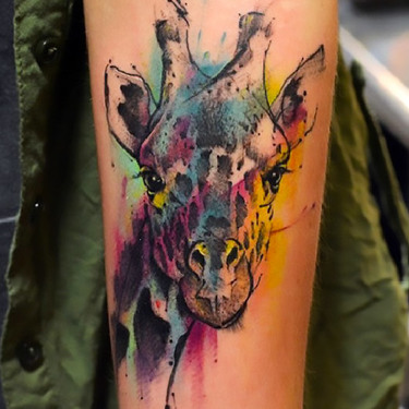 Colorful Giraffe Tattoo